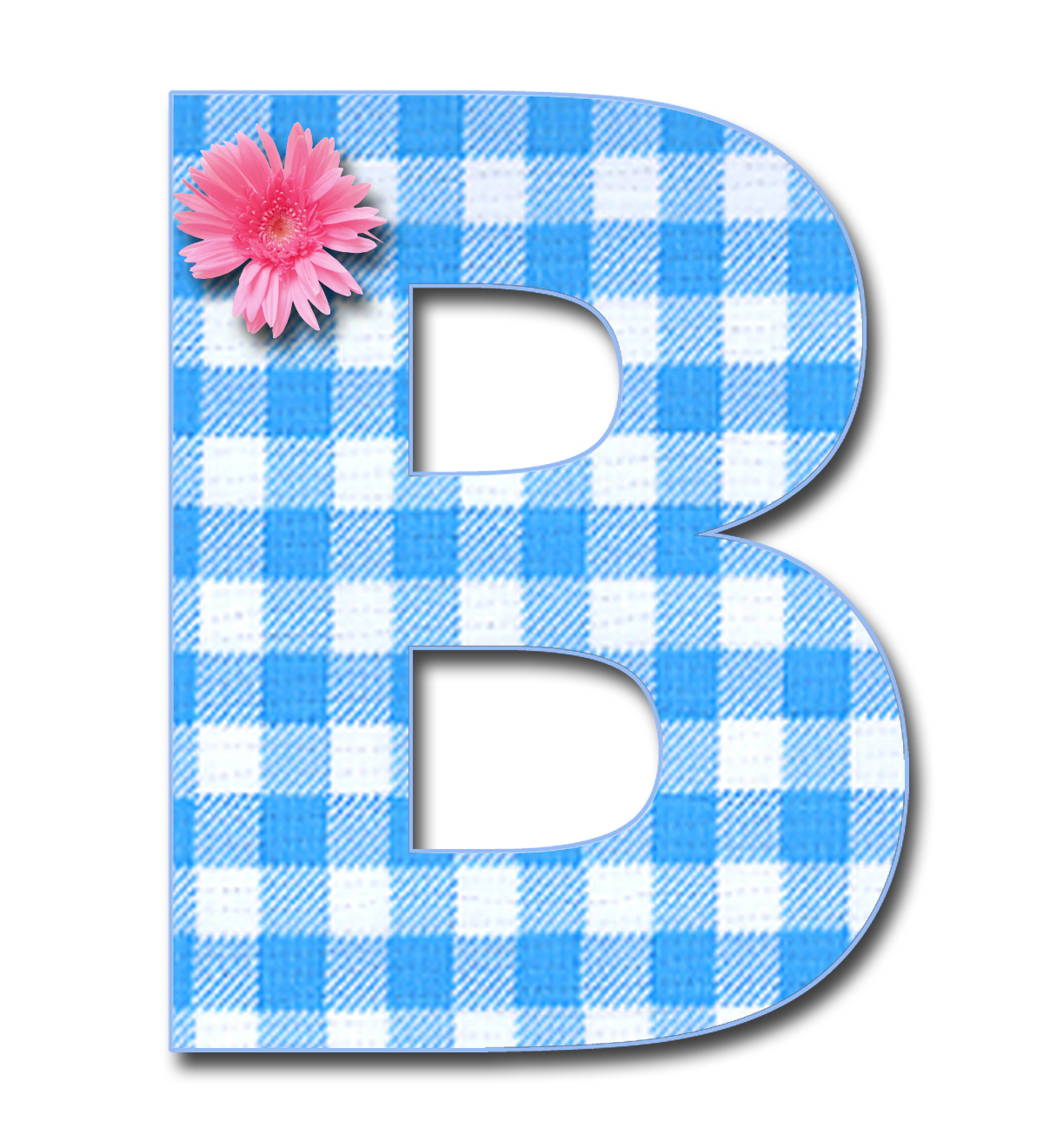 Blue b png pixels. Clipart bow gingham