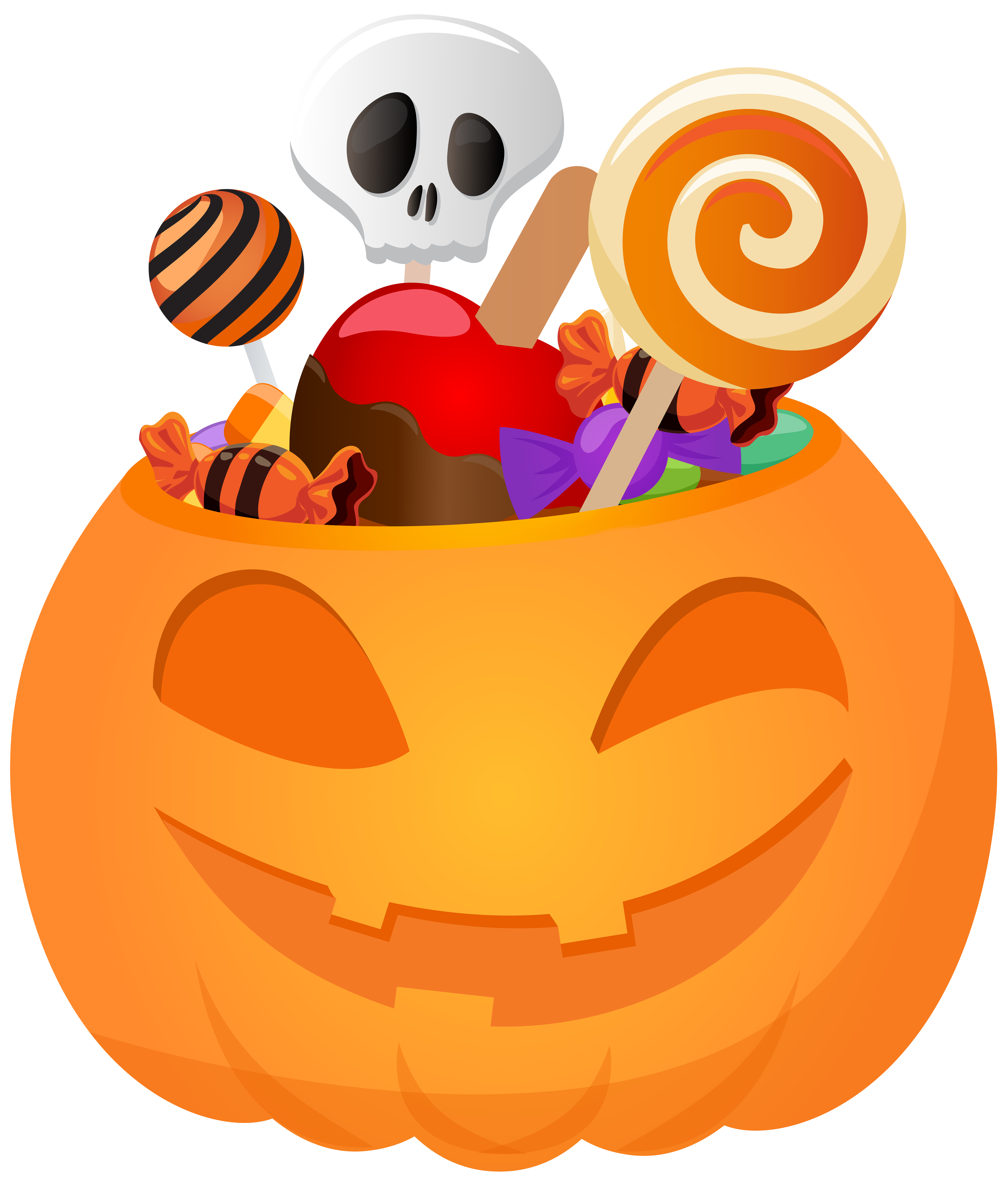Pumpkin with candy png. Halloween clipart corner