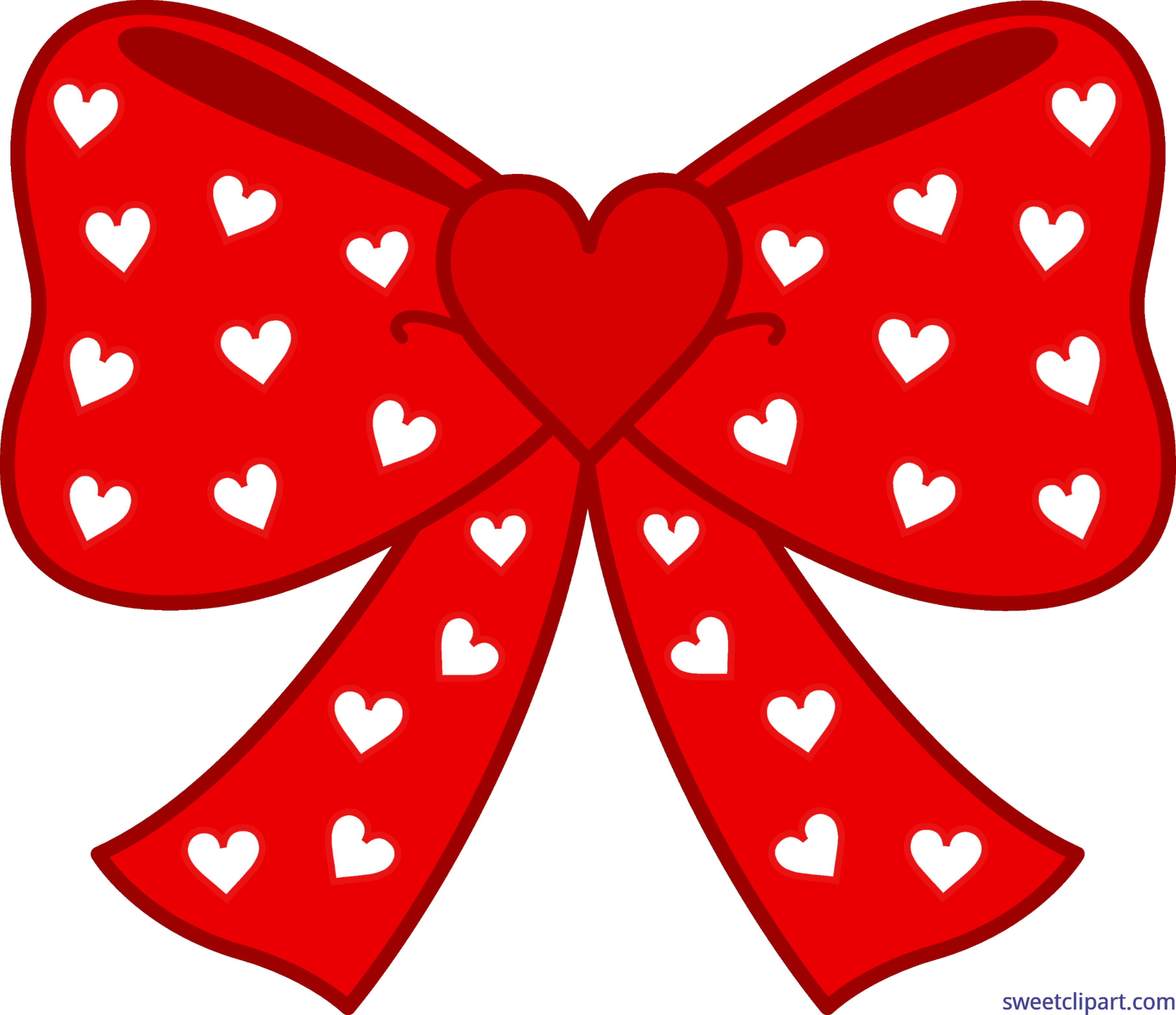 Red with white hearts. Clipart bow heart