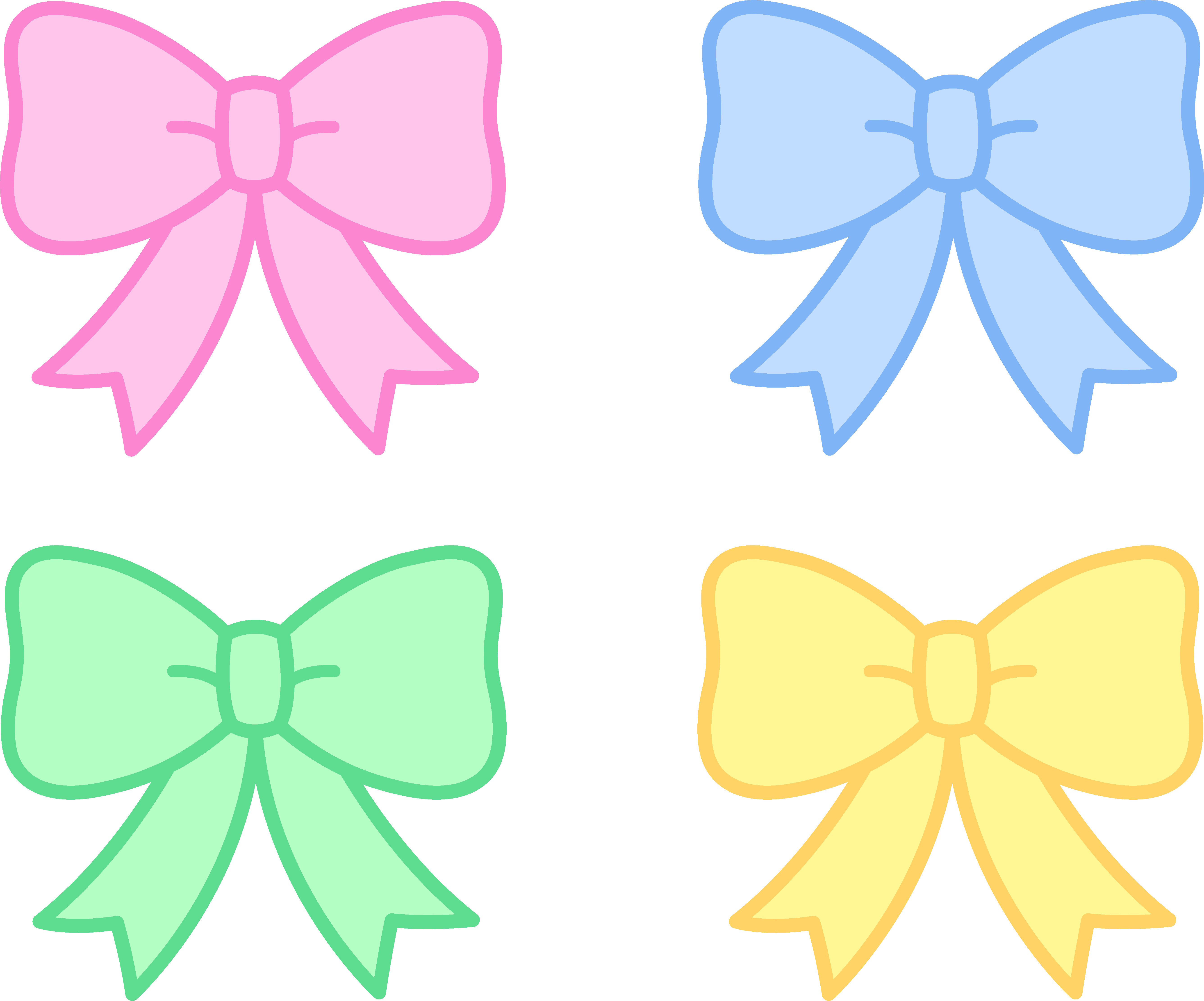 Cute pastel holiday bows. Holidays clipart sweet