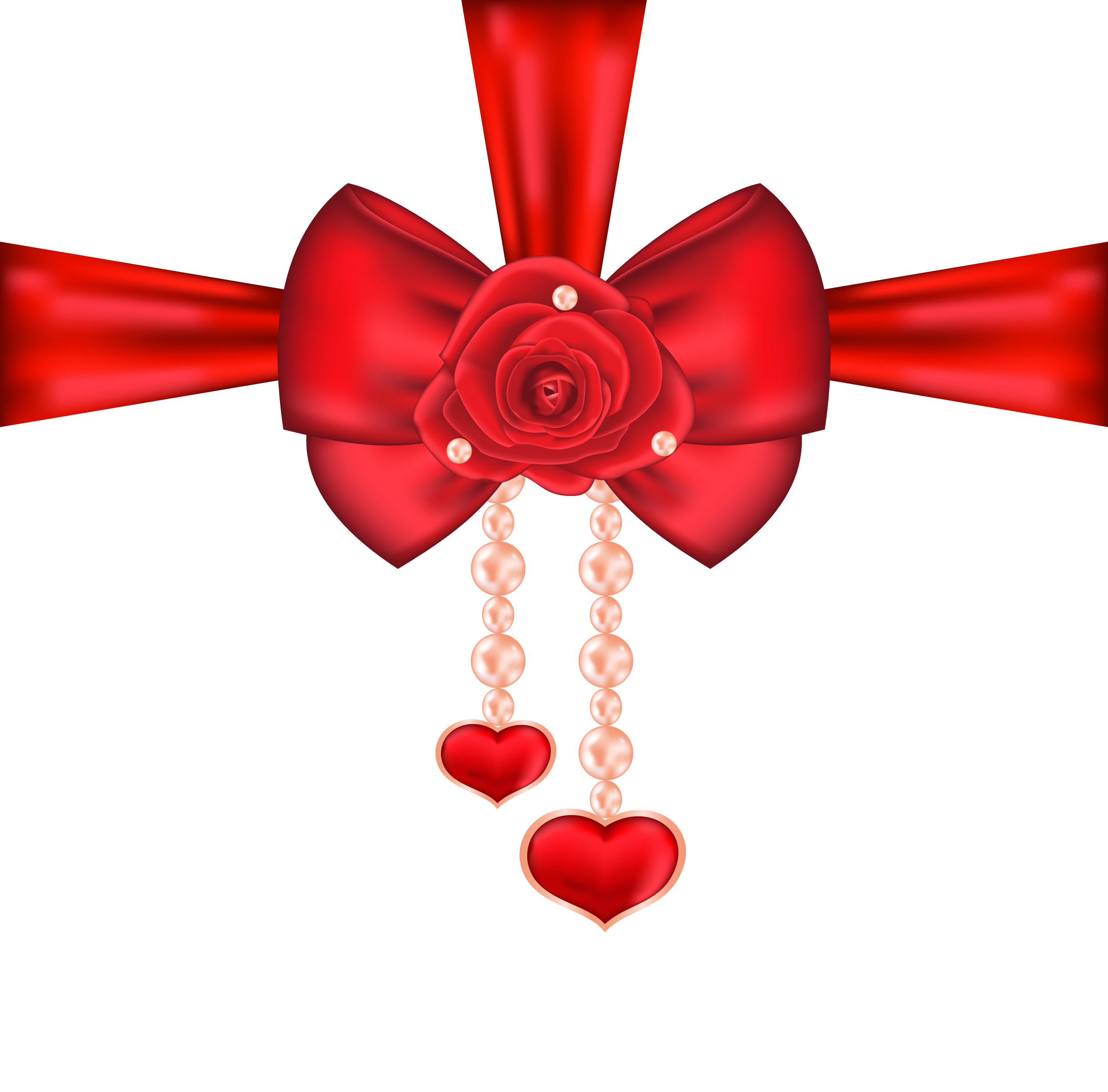 Red decorative bow with. Clipart hearts christmas