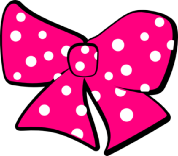 Minnie mouse bow clip. Dot clipart pink