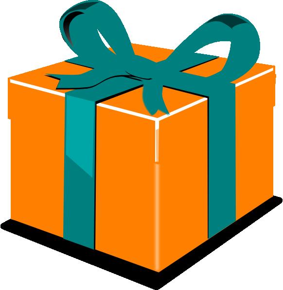 Picture clipart gift. Orange green clip art