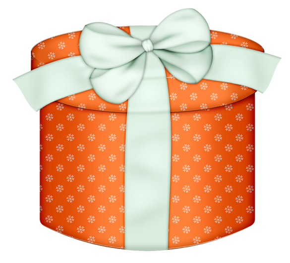 Orange round gift box. Memories clipart christmas