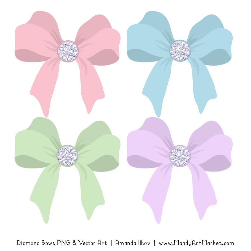 Clipart bow pastel bow. Diamond