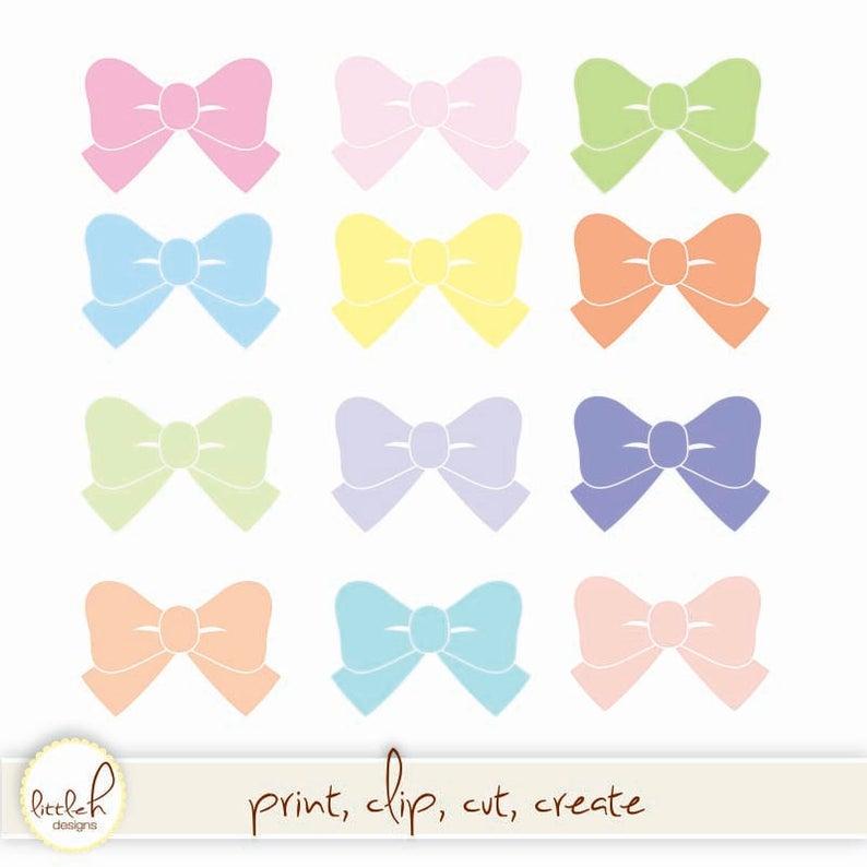 Bows digital files jpg. Clipart bow pastel bow
