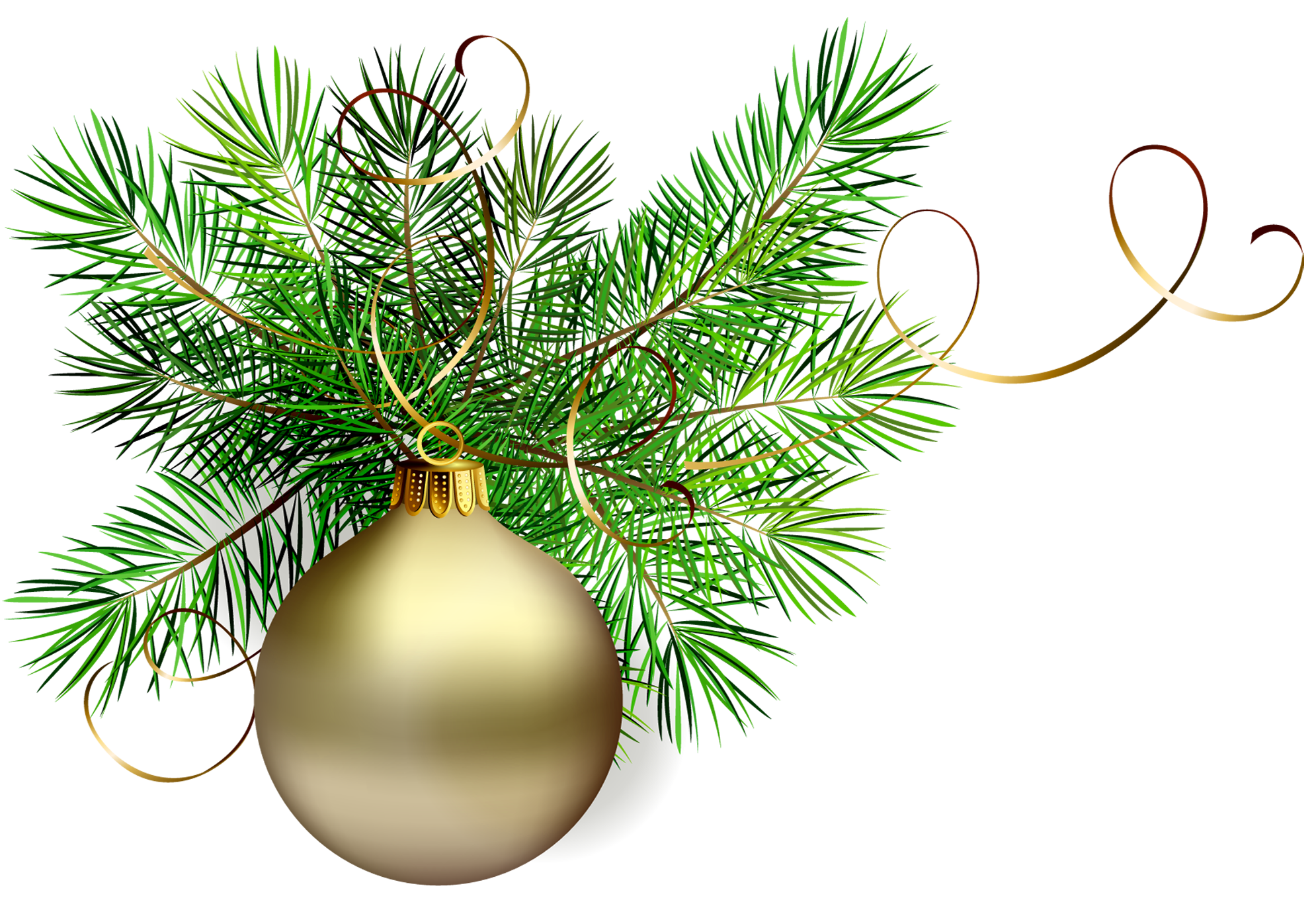 Transparent gold christmas ball. Ivy clipart bough