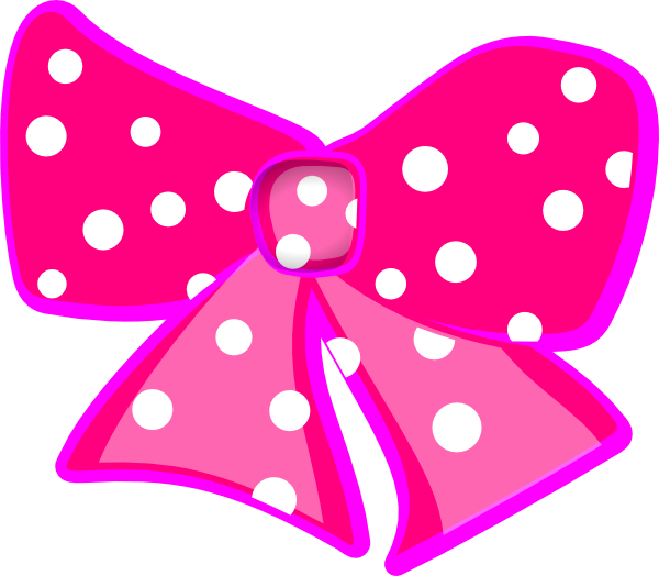 Number 1 clipart polka dot. Hot pink bow with