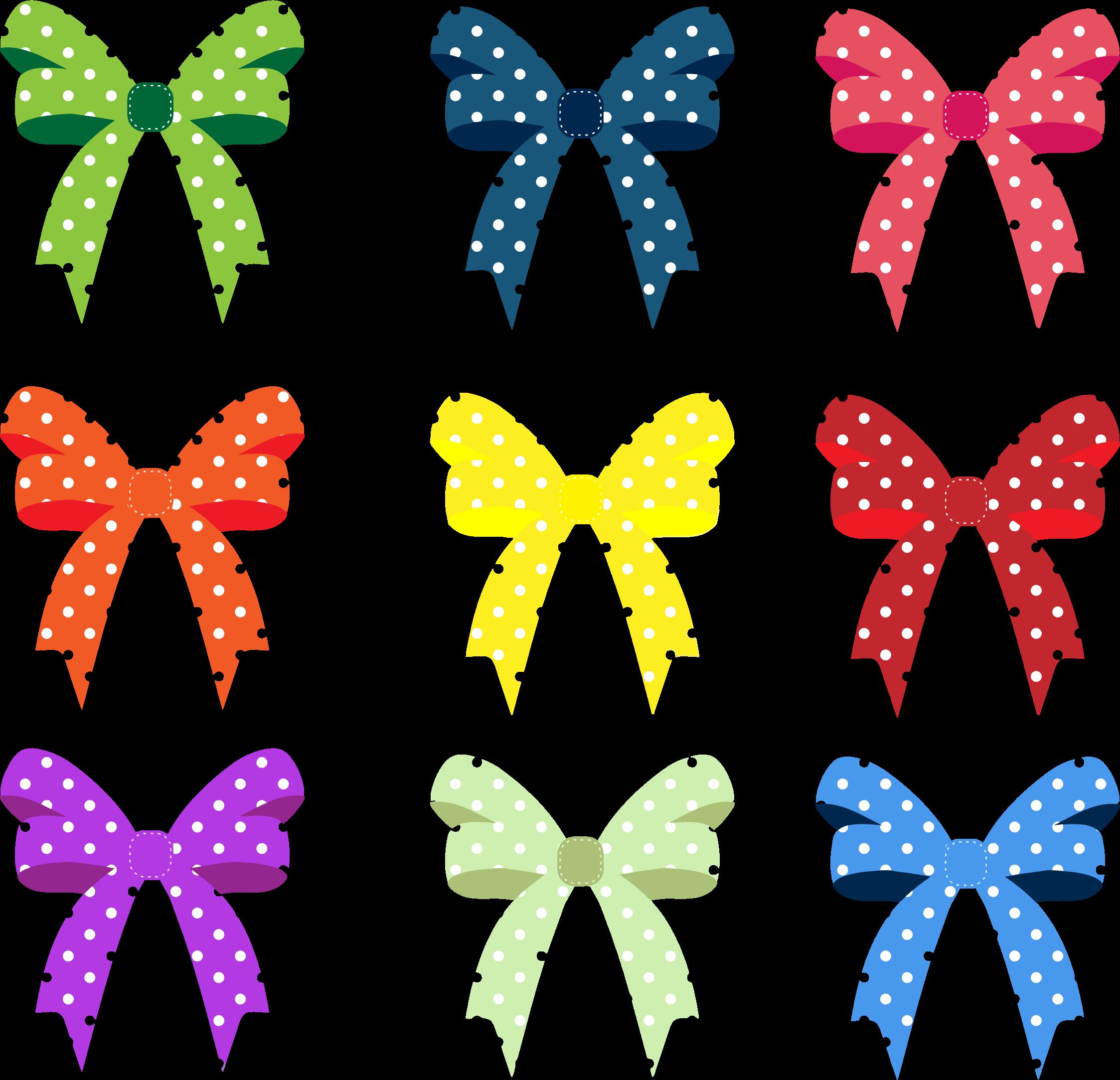 Clipart bow polka dot. Colorful ribbons and bows