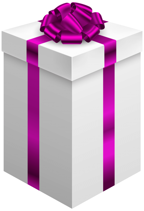 Gift clipart sack. Box with purple bow