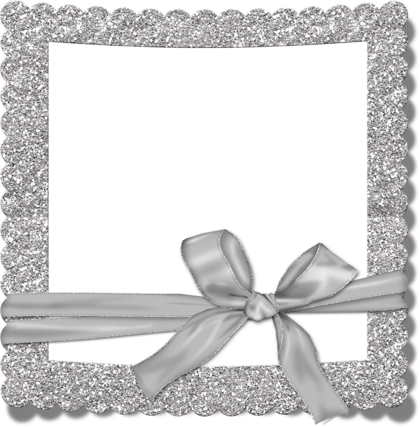 Transparent photo frame with. Silver border png