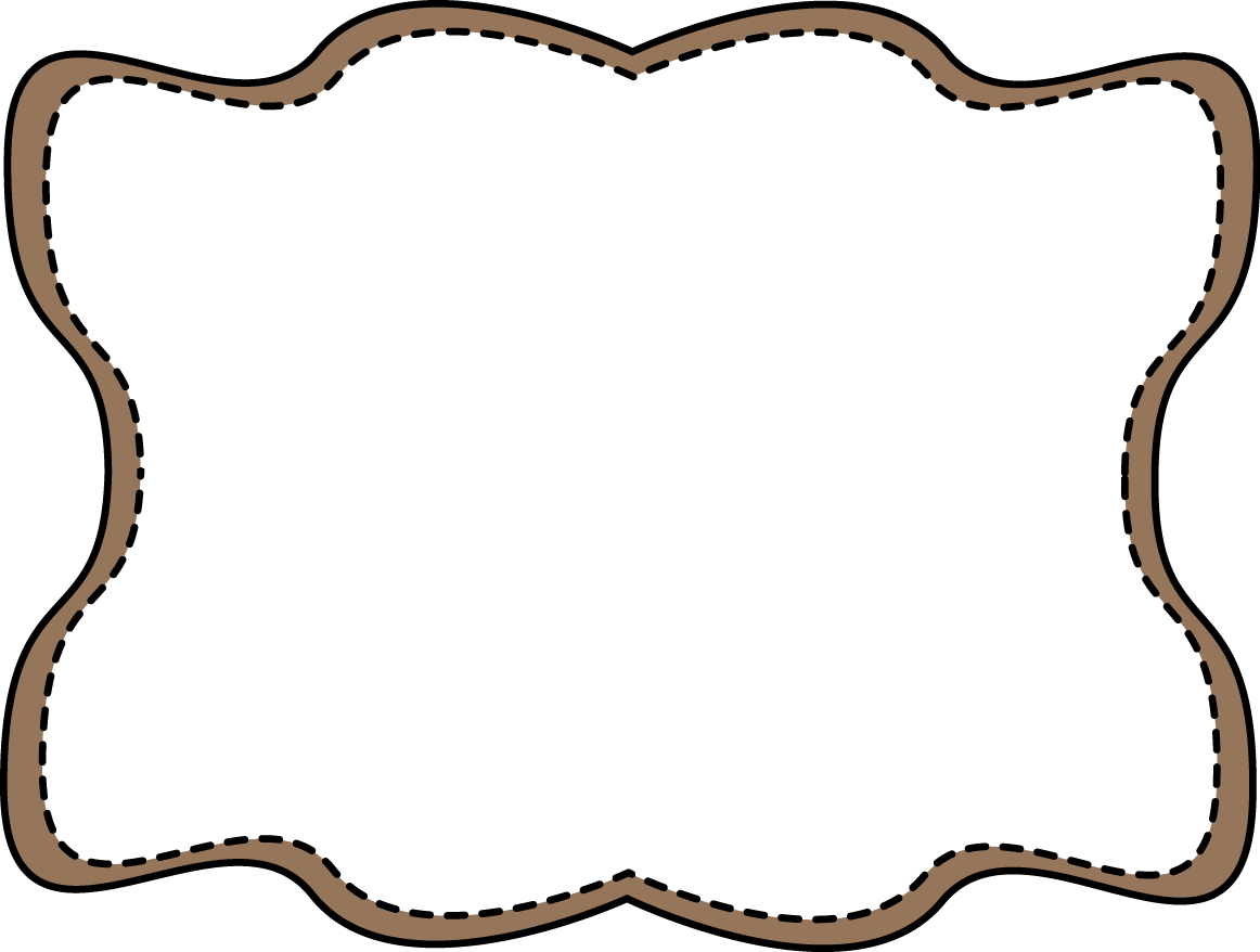 Brown wavy stitched families. Label frame png