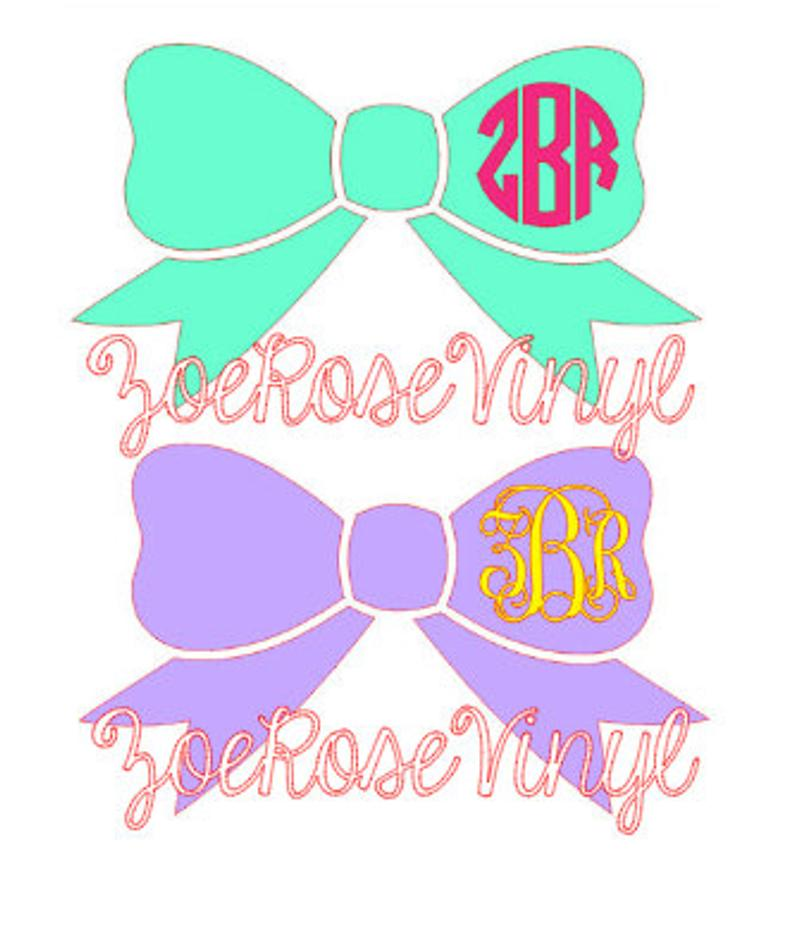 Clipart bow sorority. Monogram letters decal