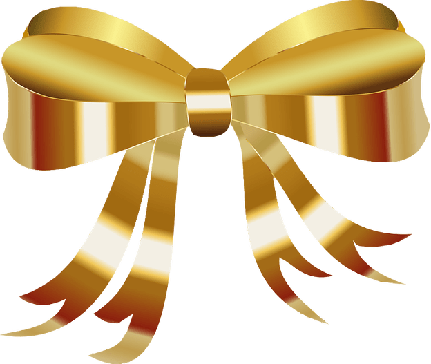 Golden gift . Clipart bow transparent background