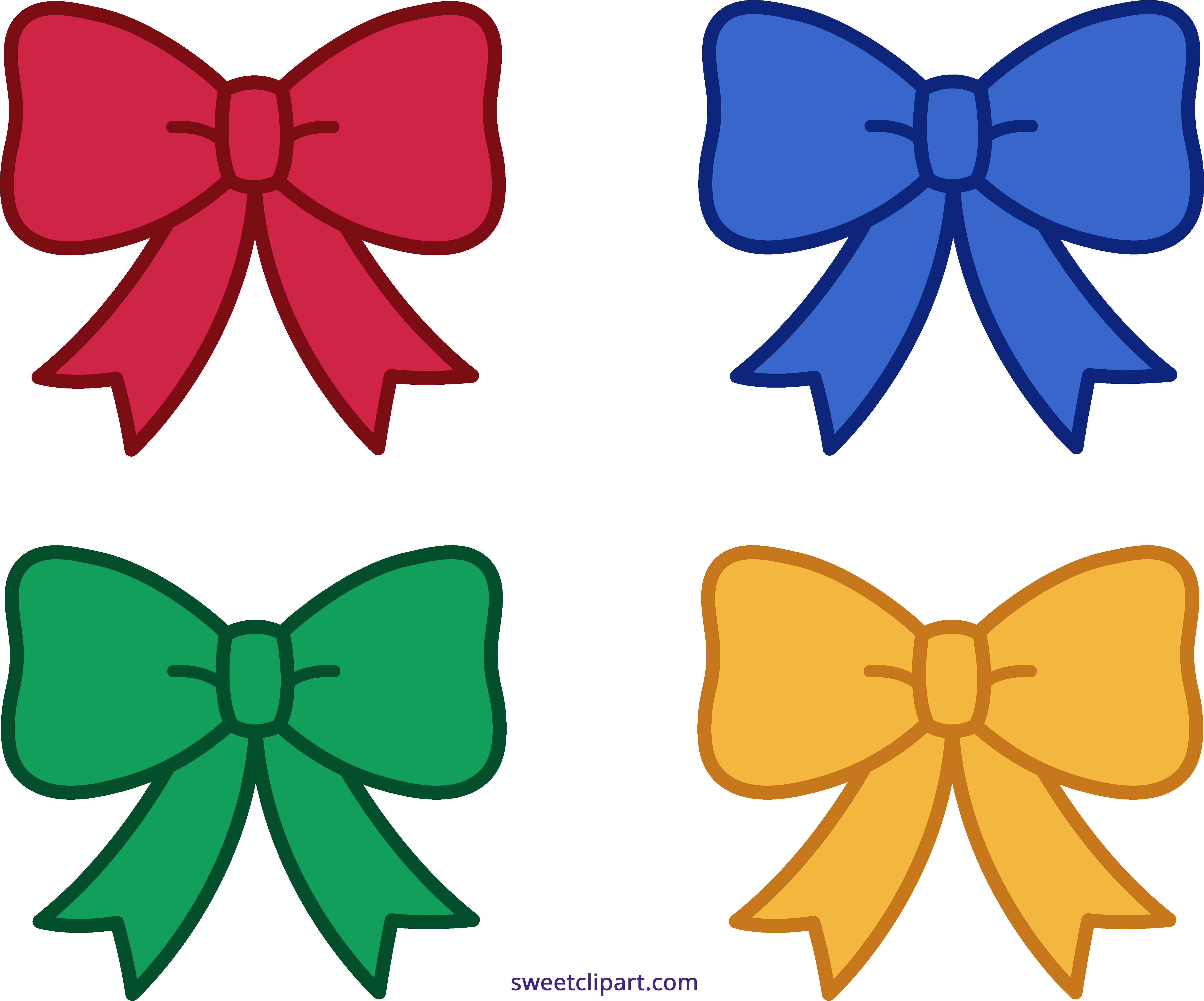 Holidays clipart sweet. Four christmas bows clip
