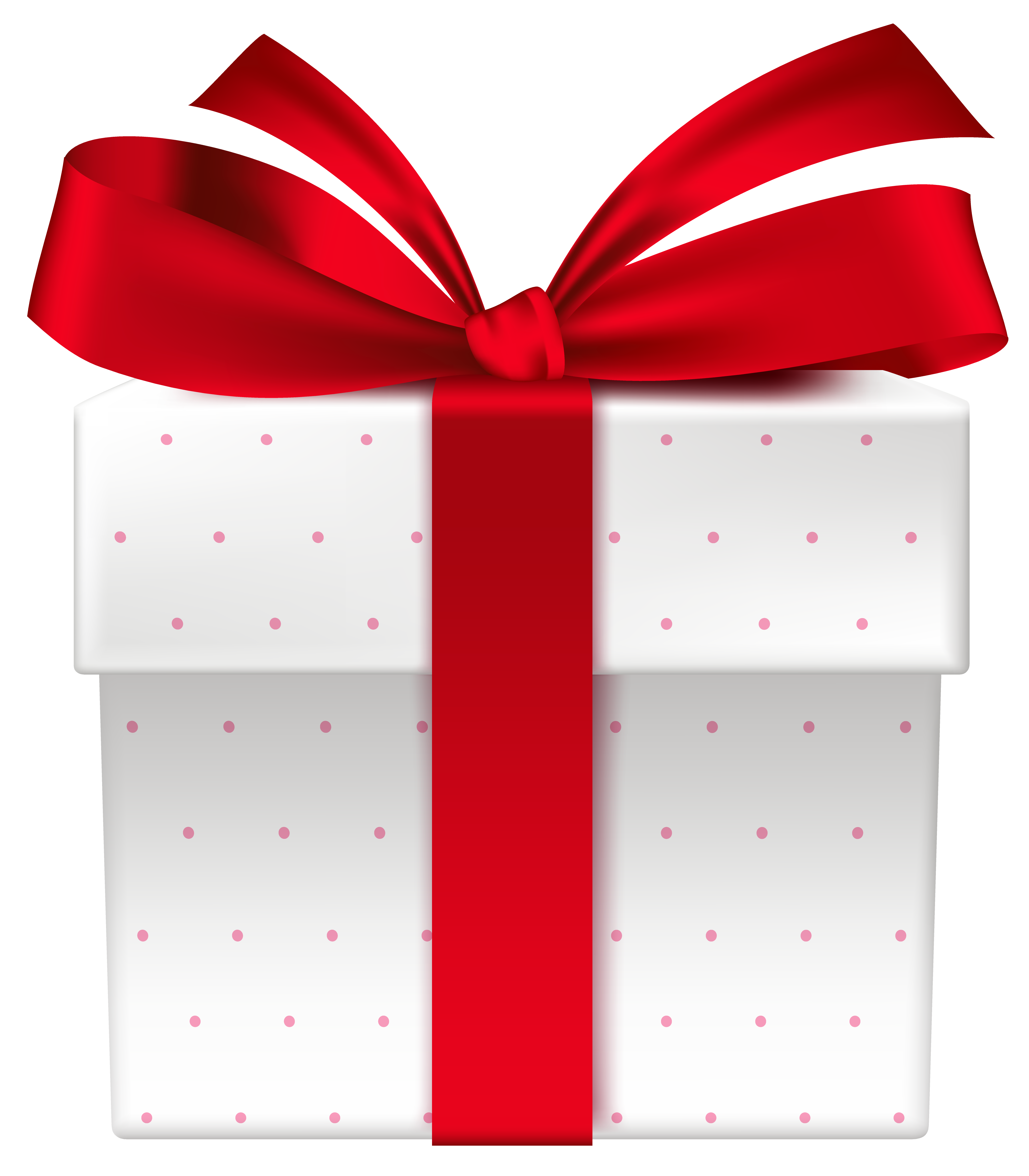 White clipart present. Gift box with red