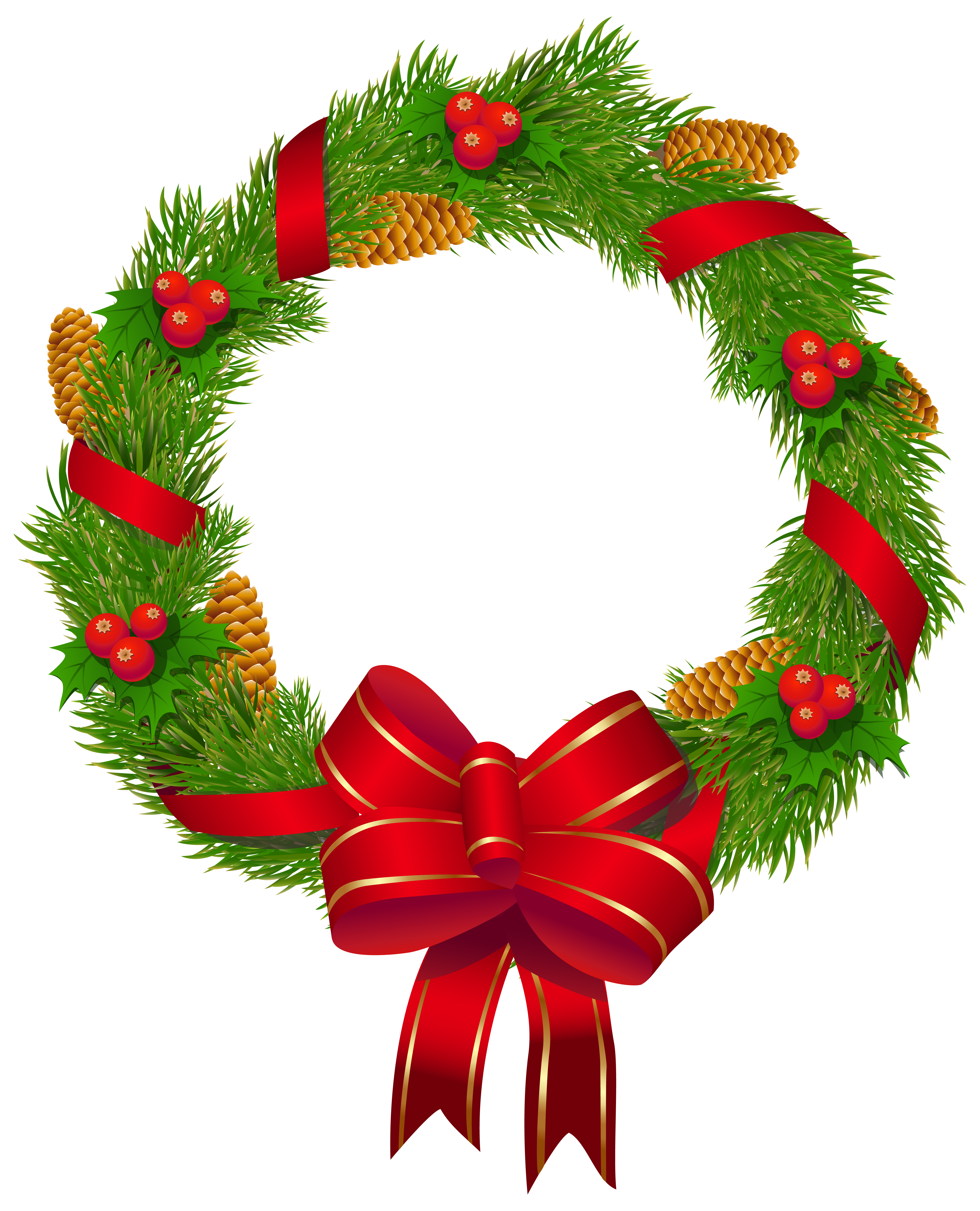 Christmas pine with red. Clipart bow wreath bow