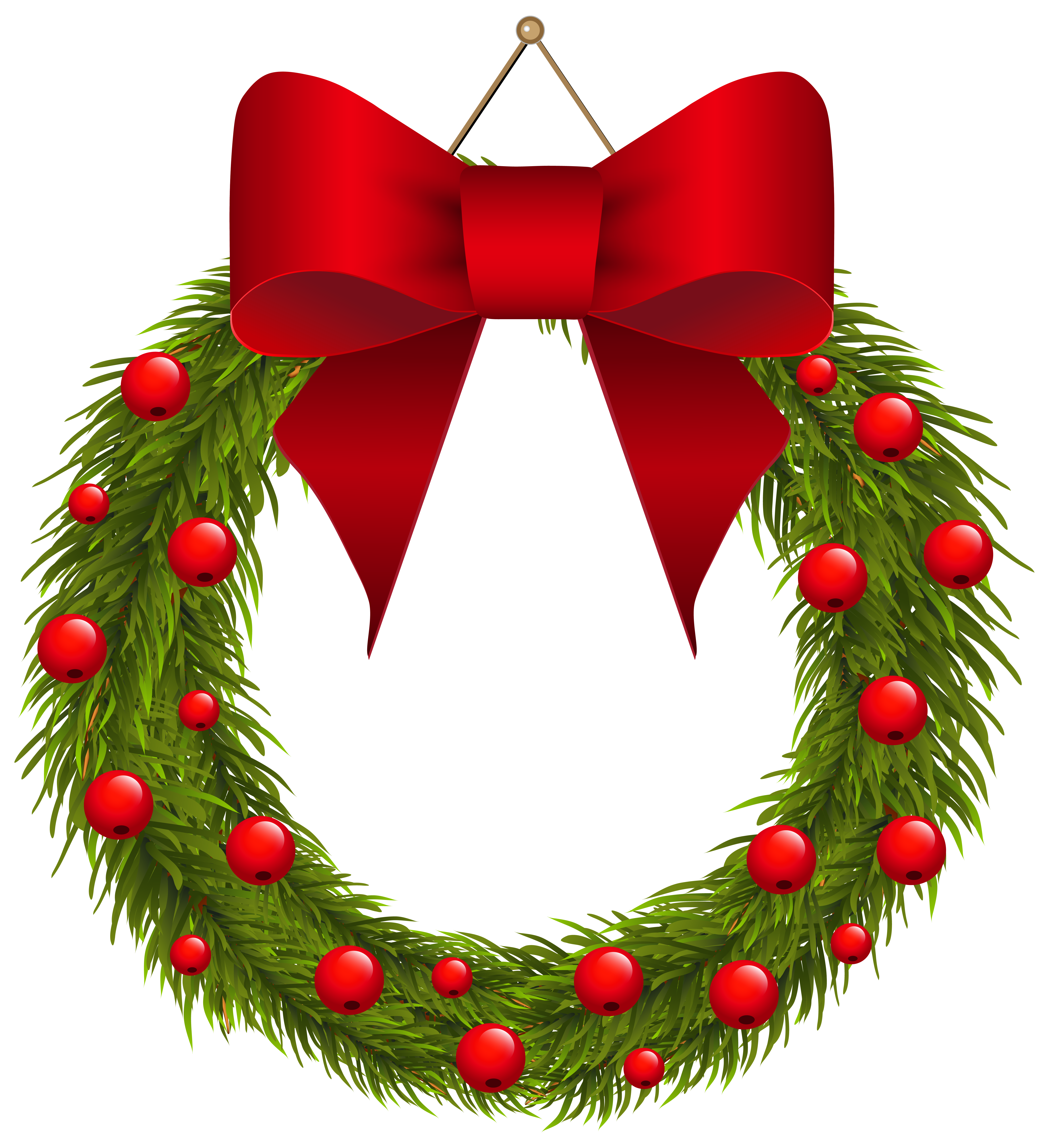 Christmas pine with red. Clipart fruit wreath