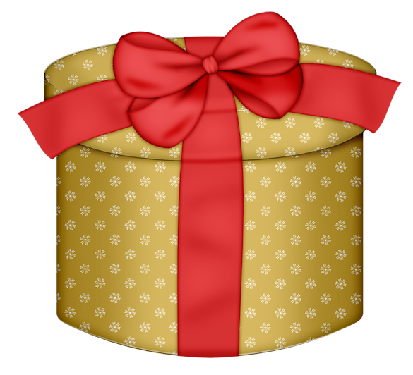 Round box with red. Gift clipart yellow