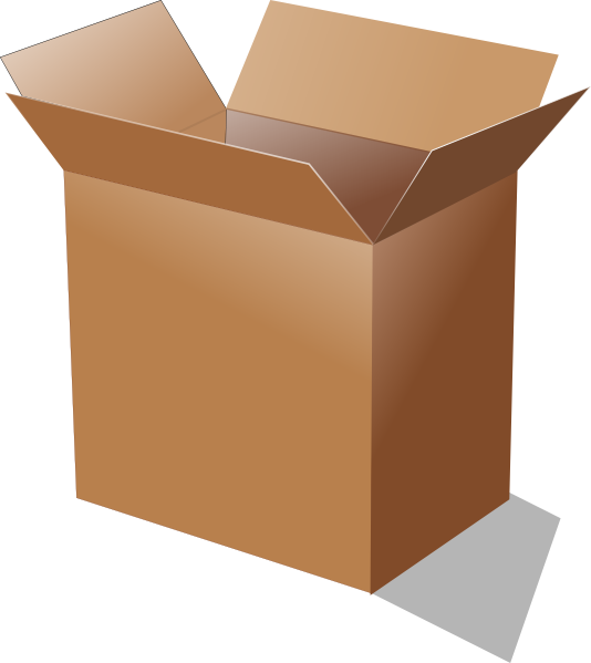 Boxes clipart animated. Open cardboard box clip