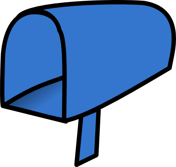 Mailbox clipart outline. Blue open clip art