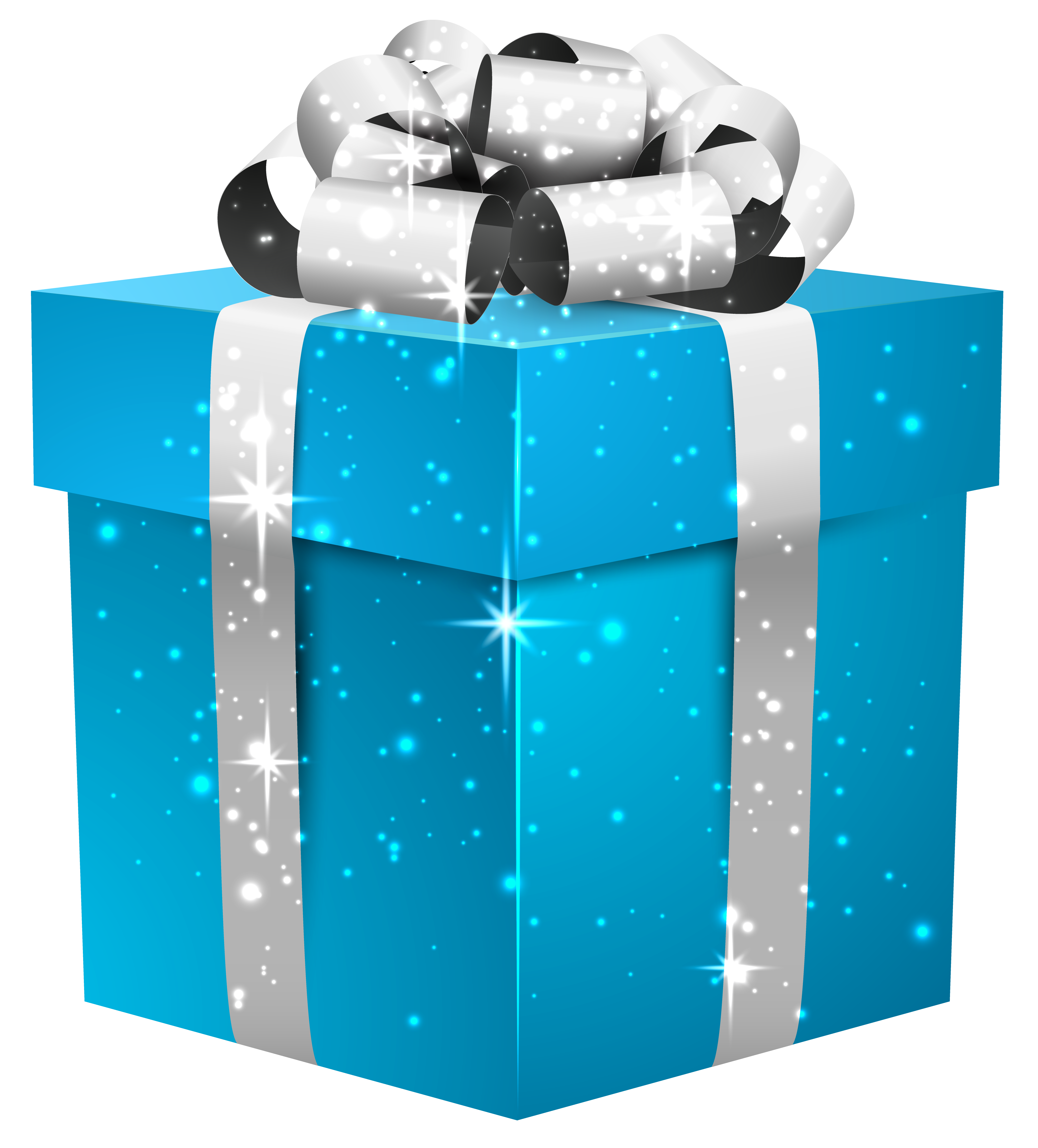 Blue shining box with. Gift clipart parcel