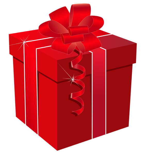 Red gift with bow. Surprise clipart surprise box