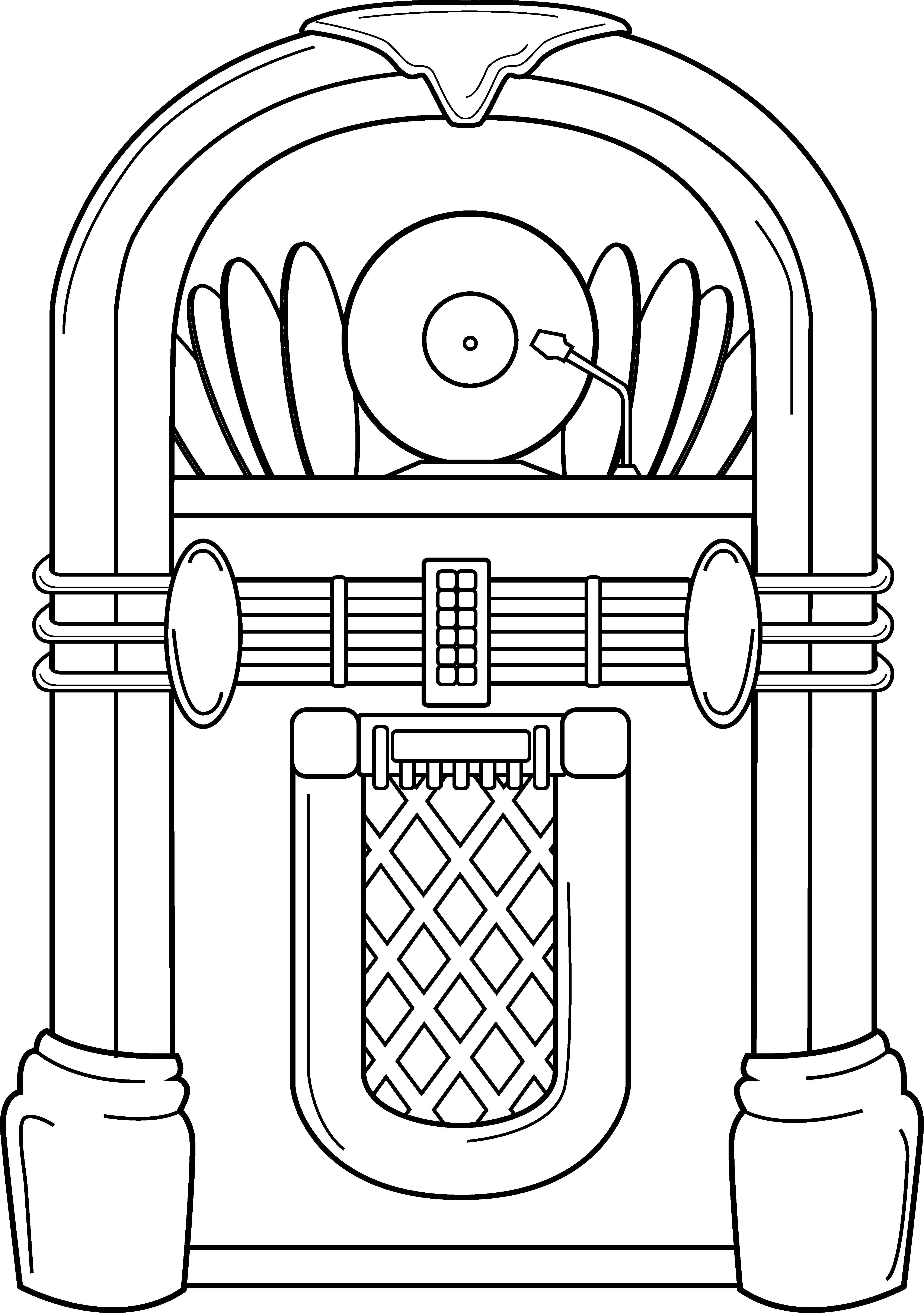 Old school jukebox line. Coin clipart color