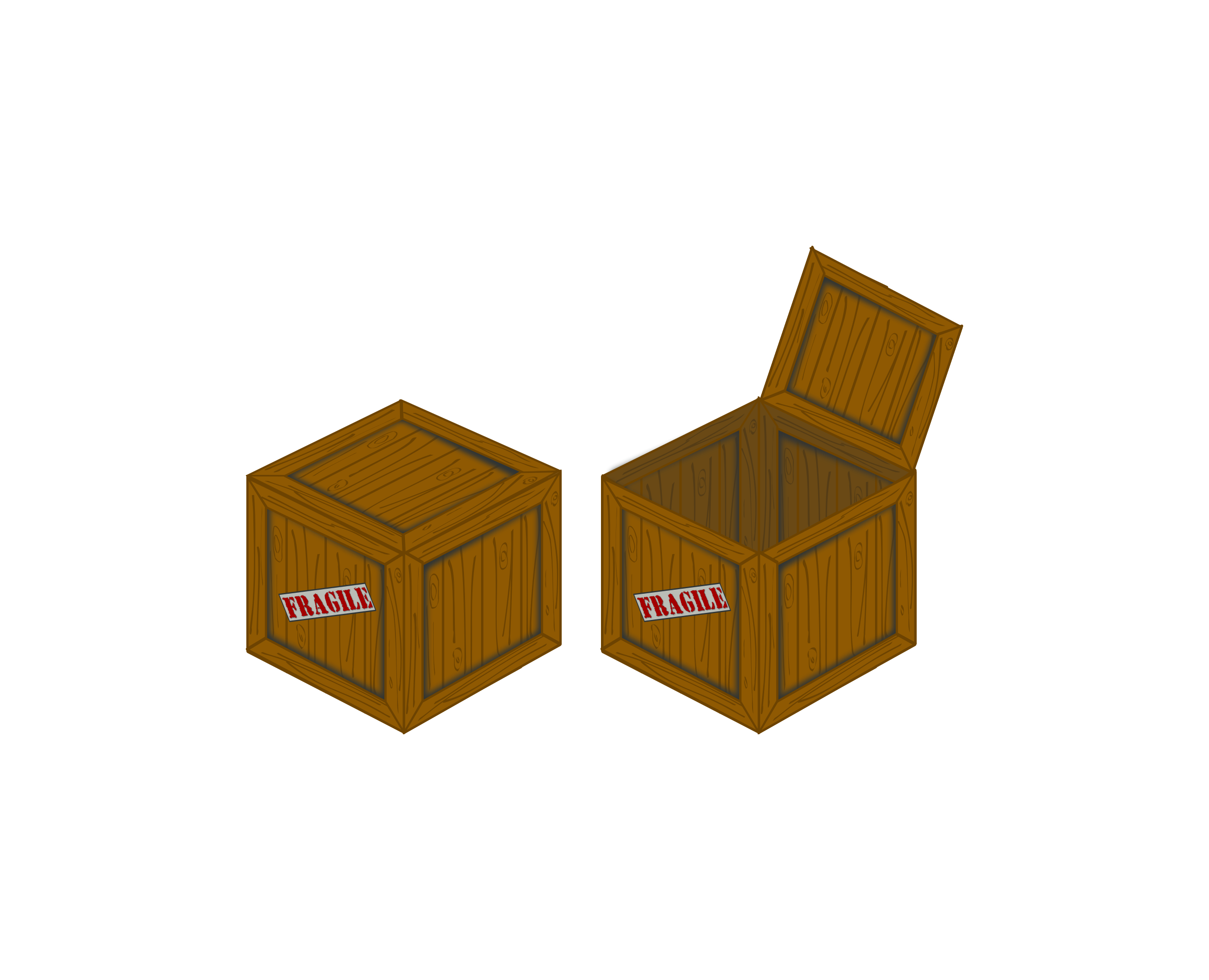 Closed and open perspective. Clipart box crate