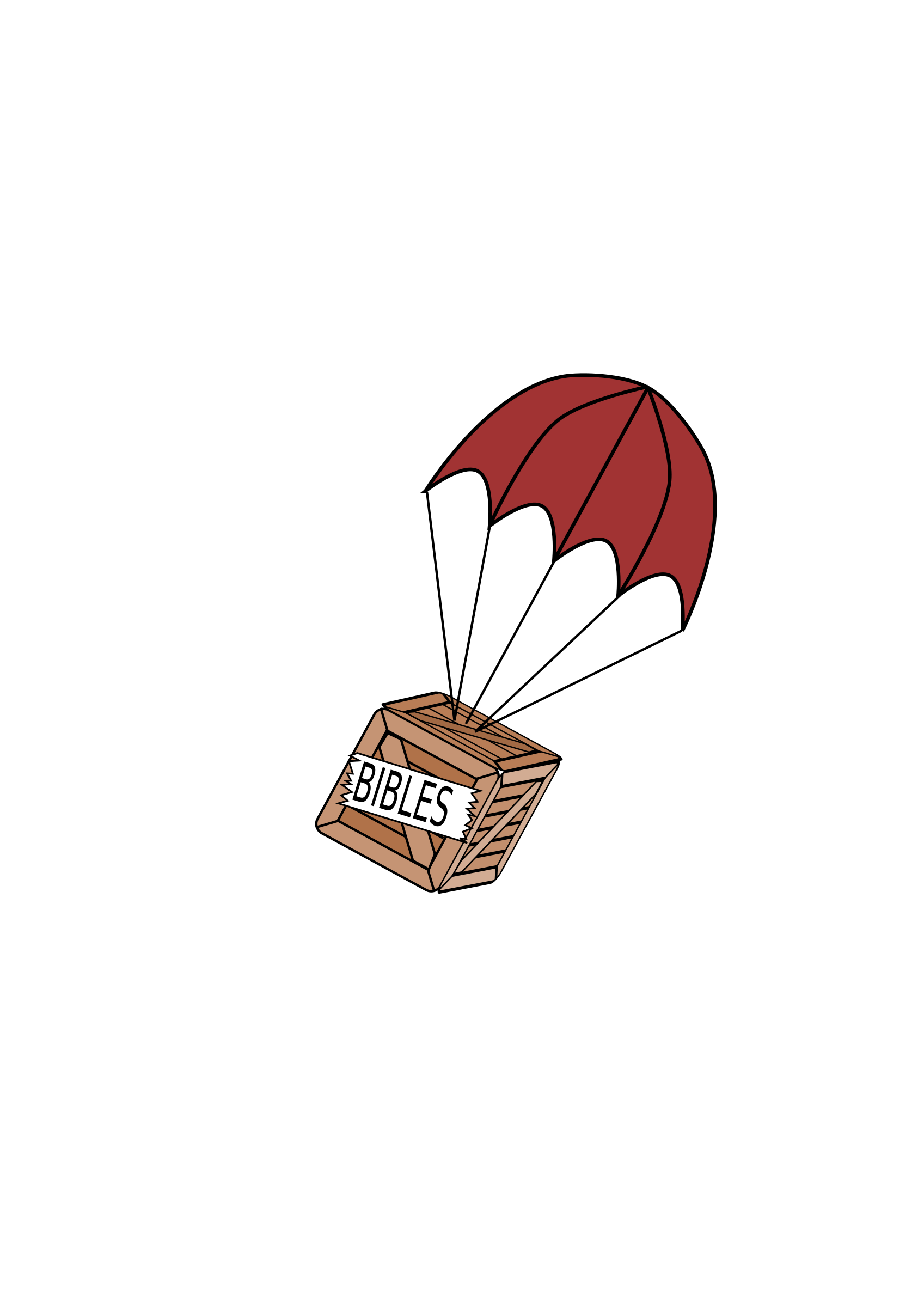 Parachute on of bibles. Clipart box crate