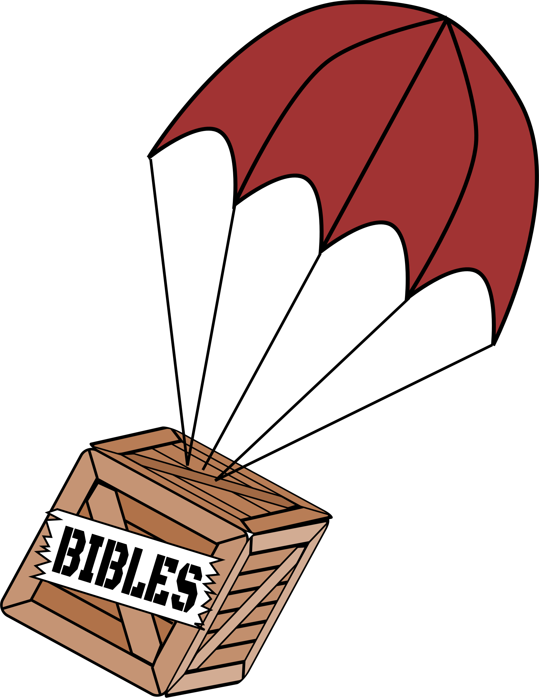 Clipart box crate. Parachute on of bibles