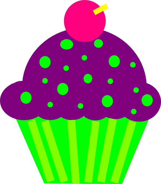 Purple and lime clip. Clipart cupcake adorable