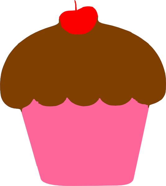 Cupcake with cherry clip. Desserts clipart baked goods
