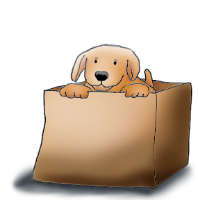 Funny cute dog . Dogs clipart box