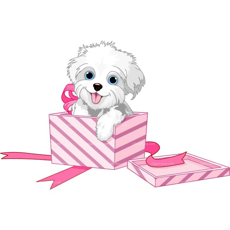 Dogs clipart box. Puppy dog in a