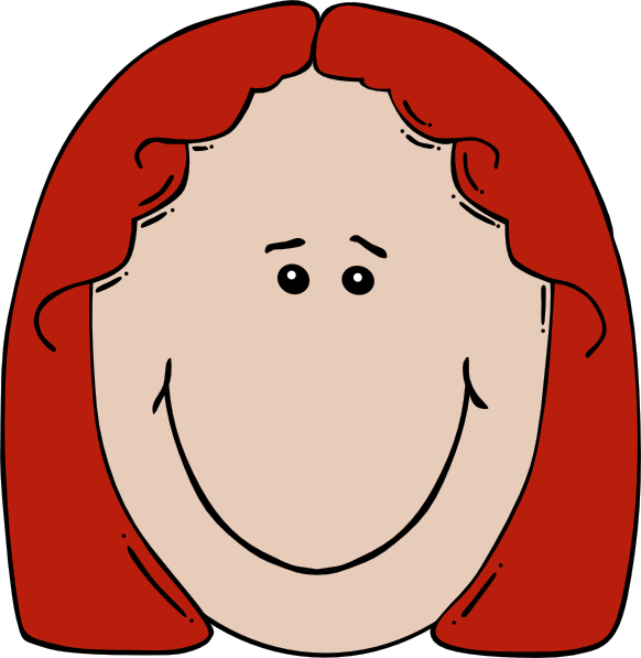 Young clipart red headed. Lady face cartoon clip