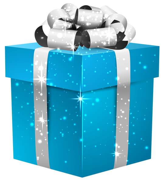 Clipart present gift box. Blue shining with silver