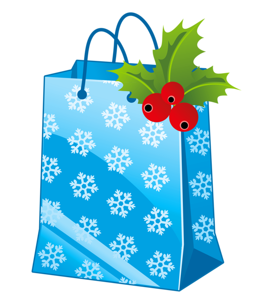 Transparent christmas blue box. Gift clipart gift bag
