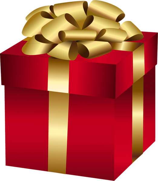 Red gift box with. Clipart present large