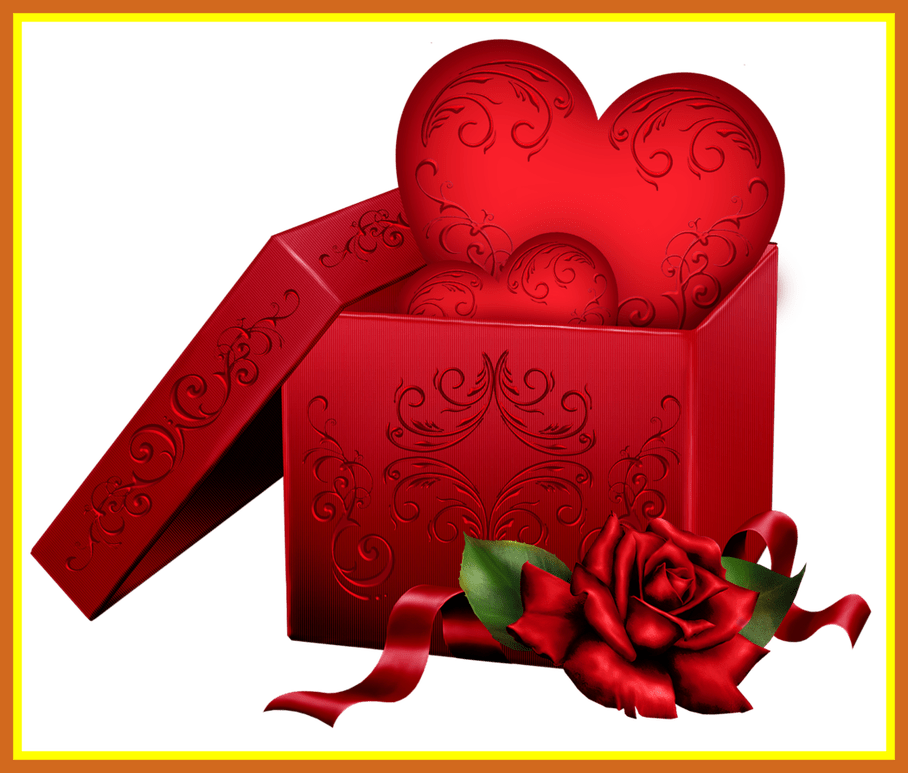 Clipart box heart. Amazing transparent gift with