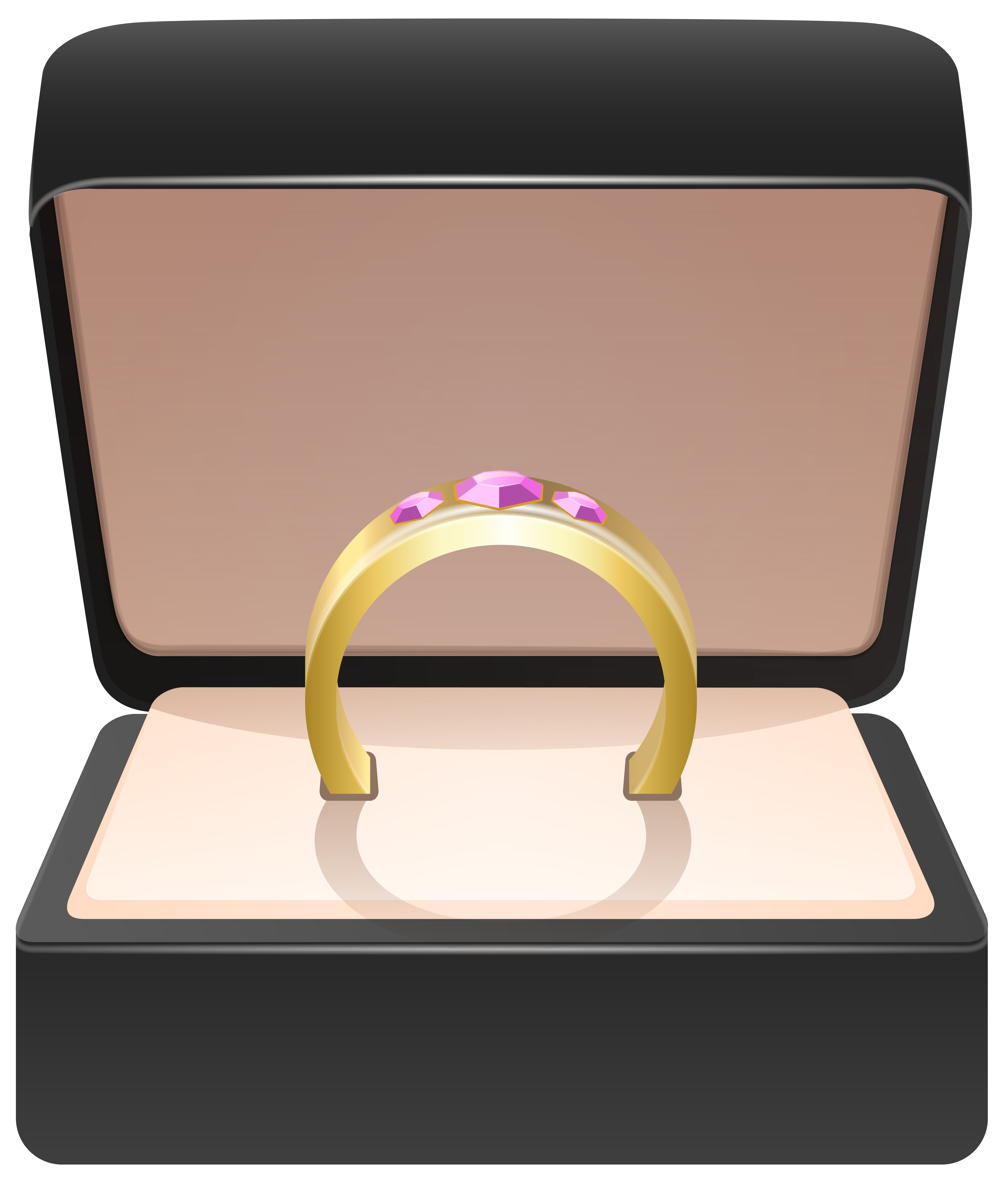 Gold ring png clip. Engagement clipart in box