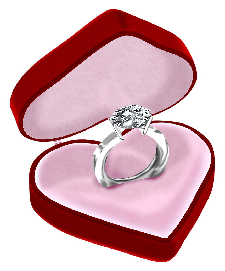 Diamond in heart box. Hearts clipart ring