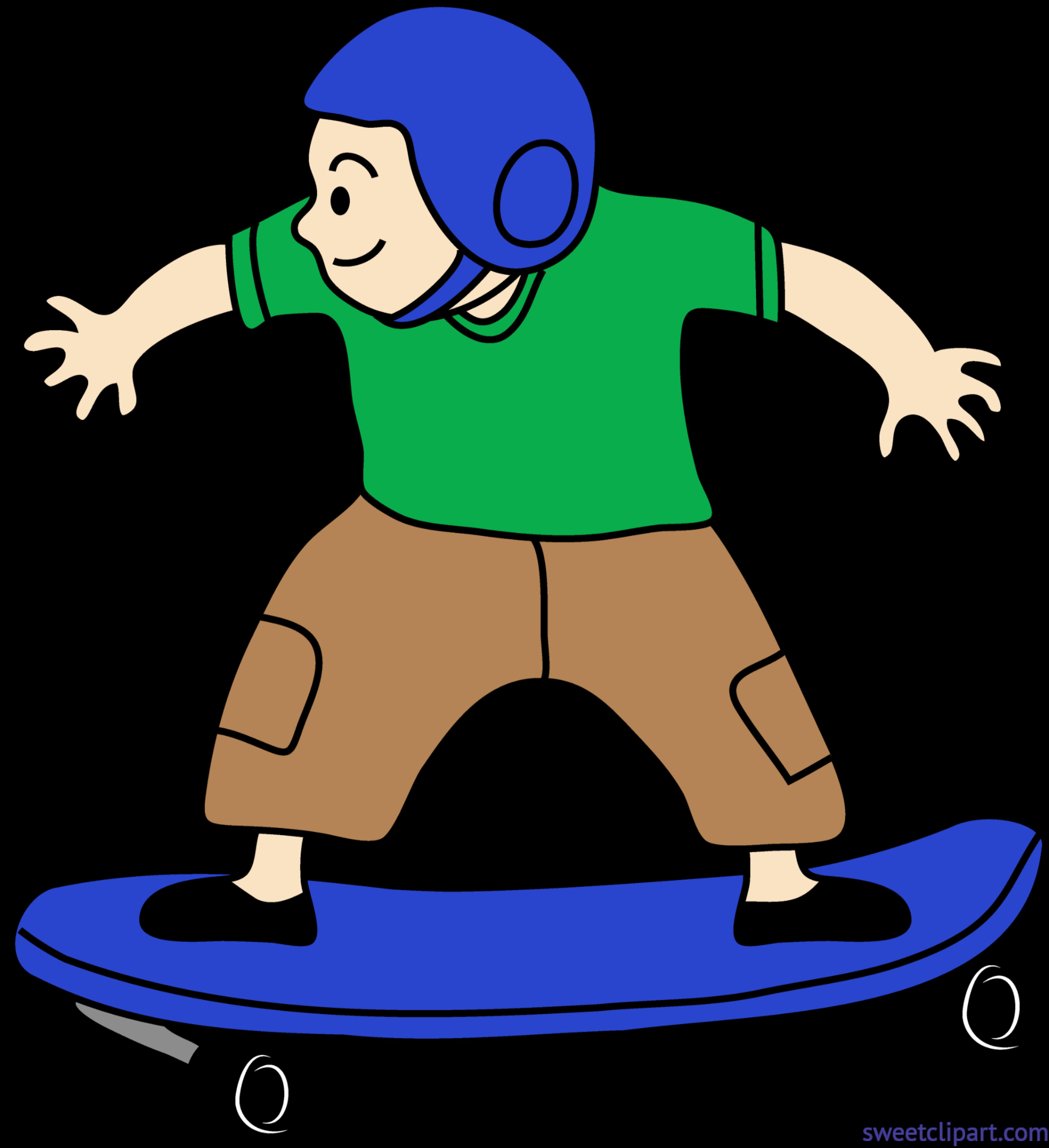Green clipart skateboard. Skateboarding kid clip art