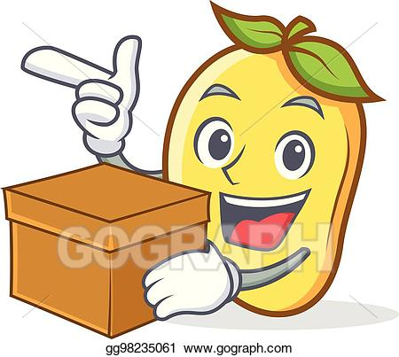 Mango clipart box. Vector art character cartoon