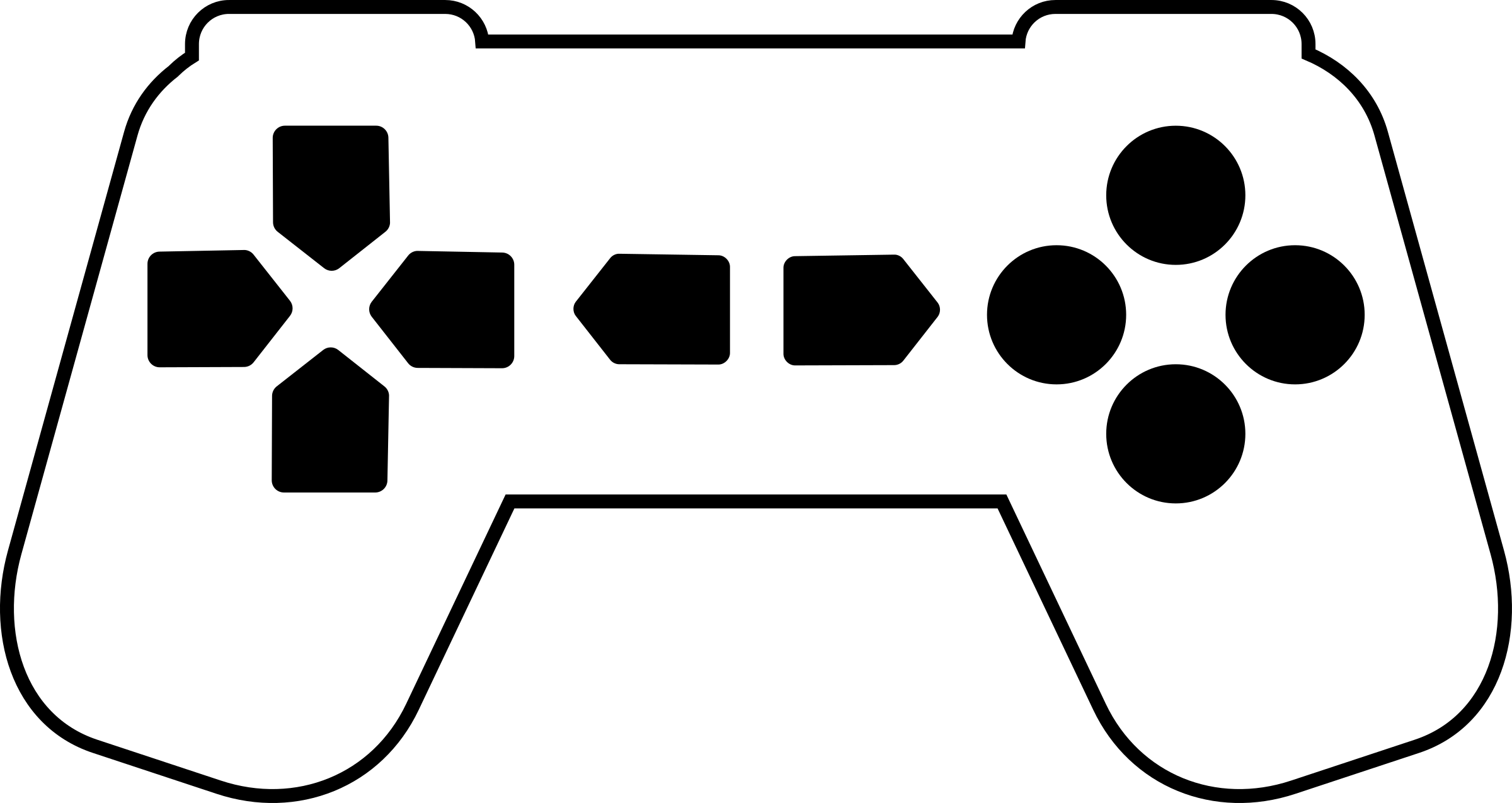 Controller outline white big. Game clipart game pad