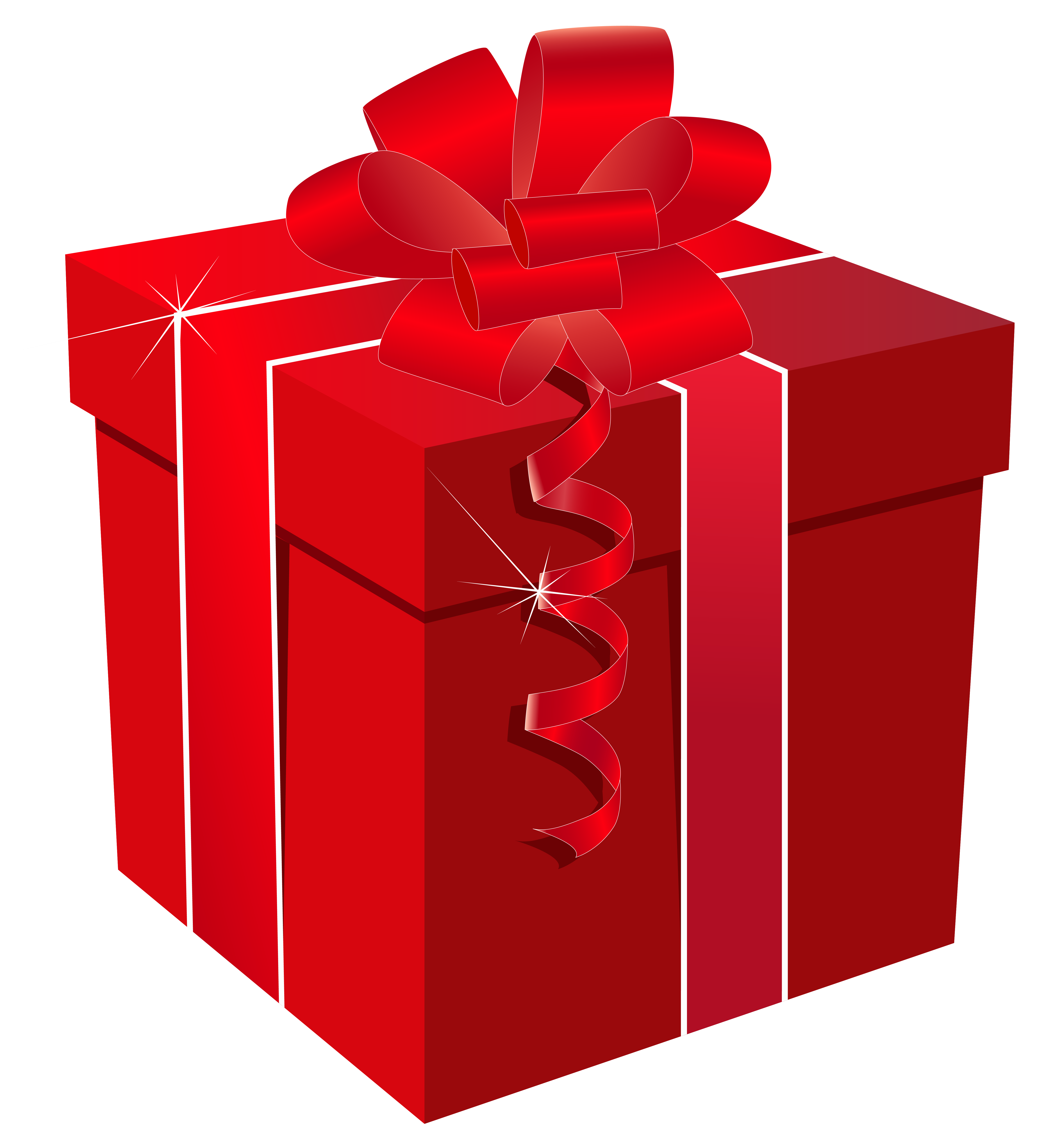 Red box with bow. Gift clipart parcel