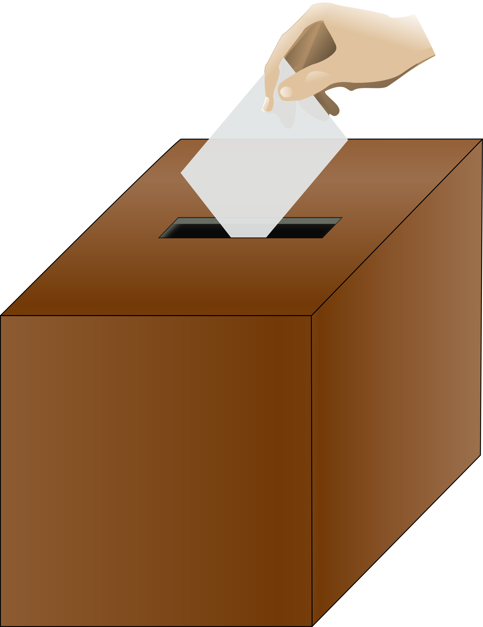 Ballot isometric with hand. Voting clipart voting box