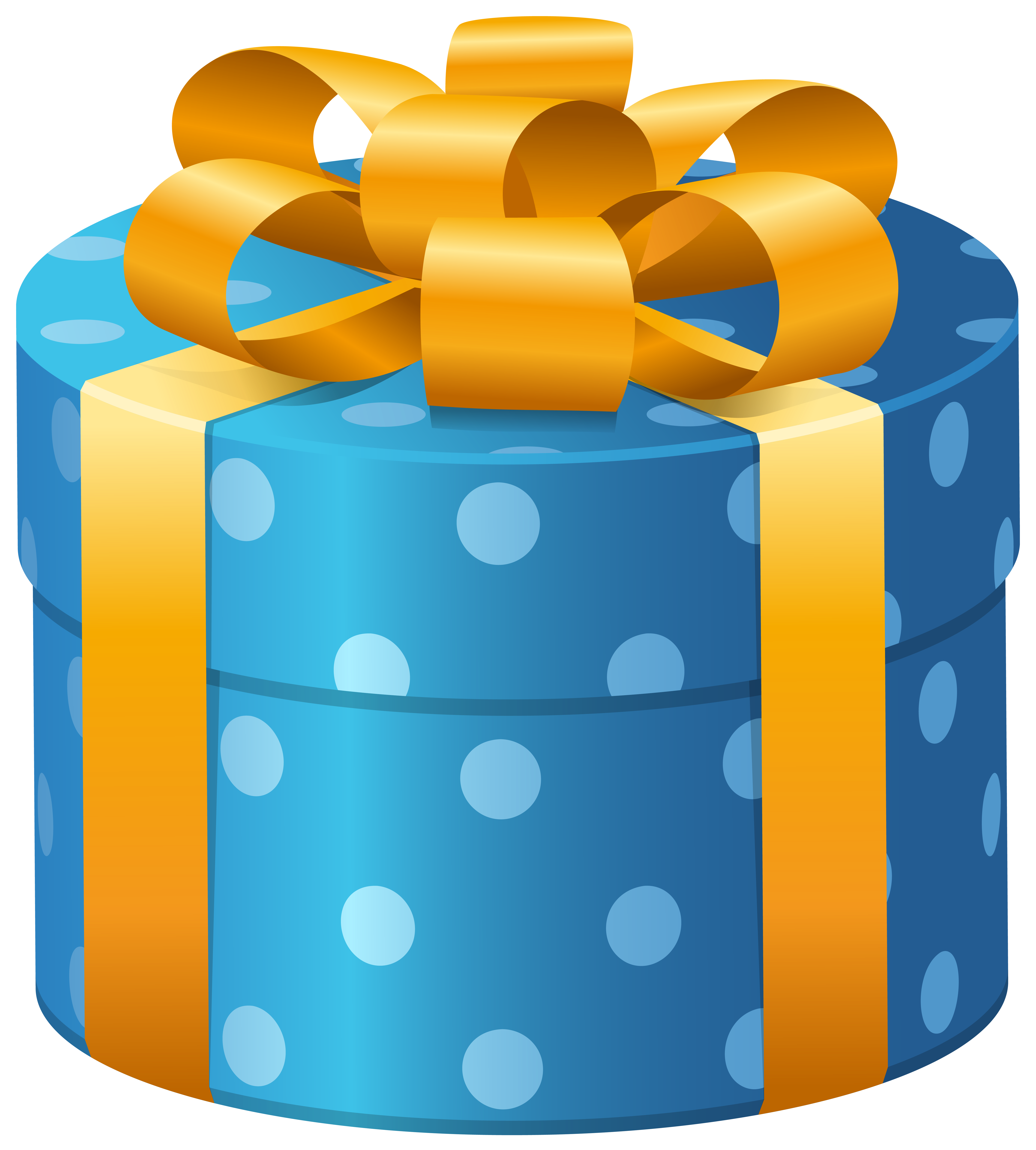 Oval blue dotted present. Clipart box supply