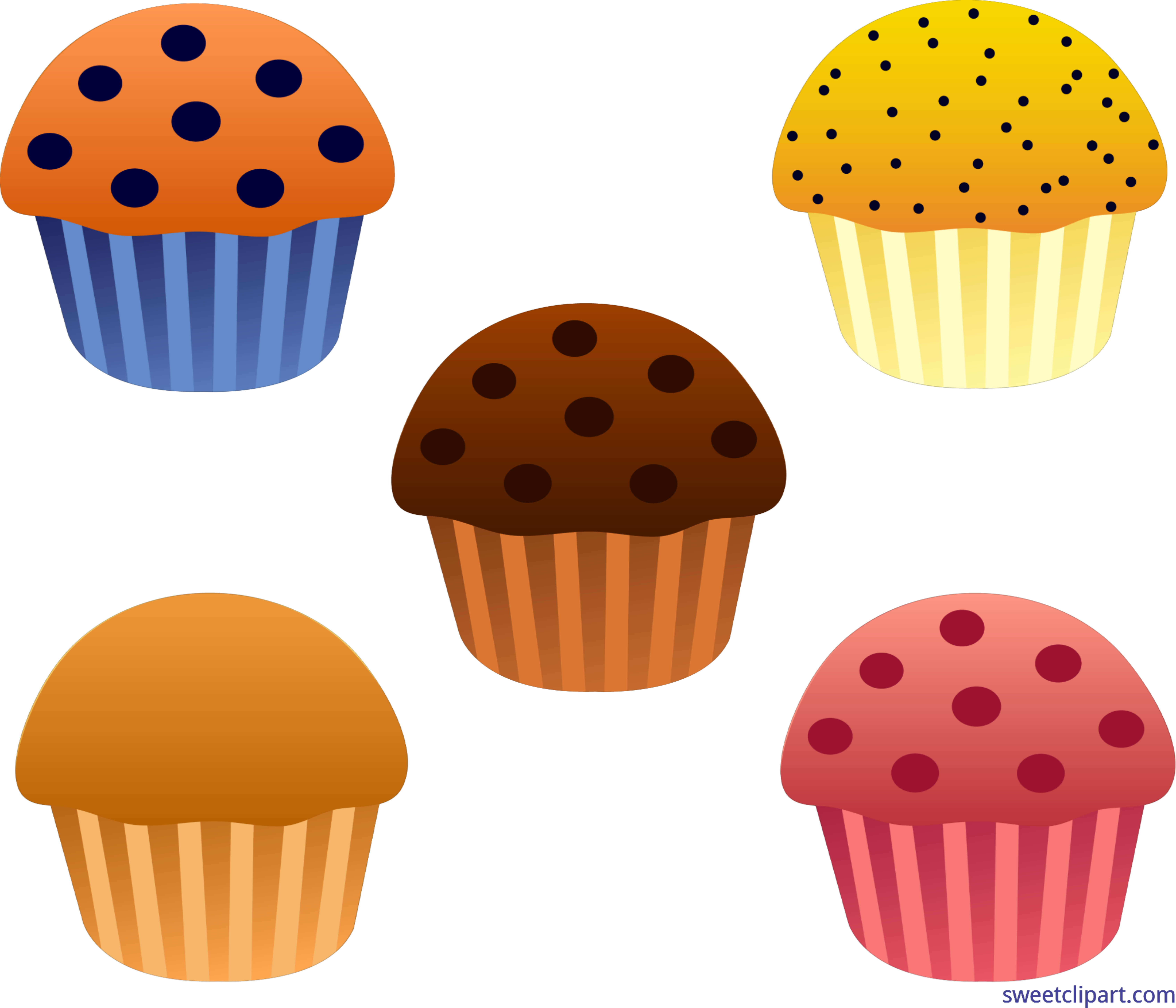 Muffins assorted set clip. Fruit clipart muffin