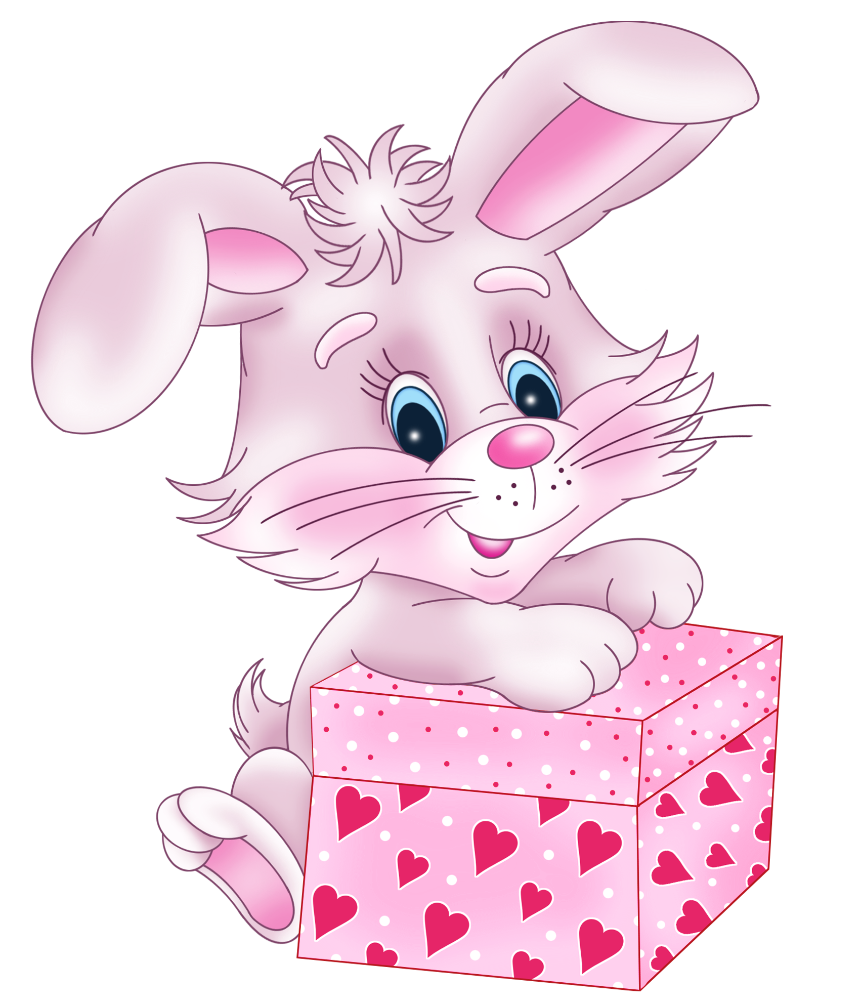 Valentine clipart cute. Bunny with gift box